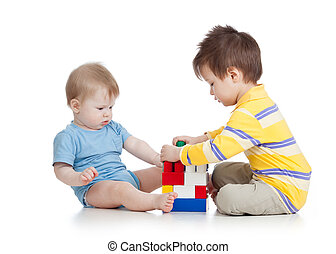 children boys playing with toys together