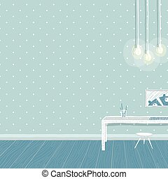 Children boys room in blue background design with empty wall and lights
