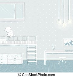 Children boys room in blue background design