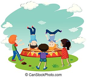 Children Breakdancing on Stage illustration