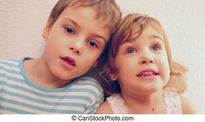brother with sister singing - Children: brother with sister...