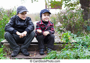 children brothers country fall happy smile fall