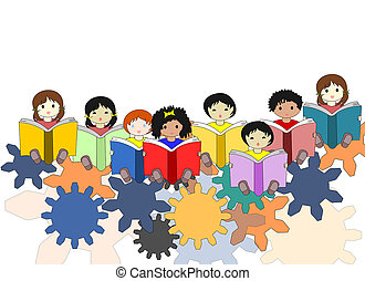 Children -buduschie minds in the world, the concept of children of different races sitting on gears with books in their hands