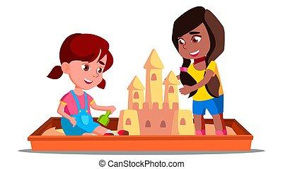 Children Build A Sand Castle In The Sandbox In Summer Vector. Illustration