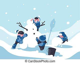 Children build snowman in winter