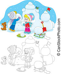 Children building a snow fort - Little girl and boy make a...