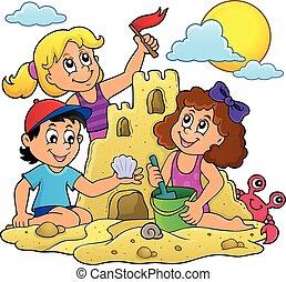 Children building sand castle theme 1