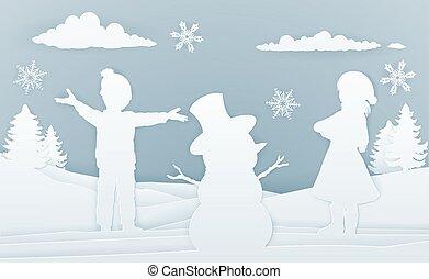 Children Building Snowman Paper Art Style