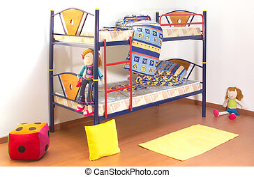 Children bunkbed with sheets and toys