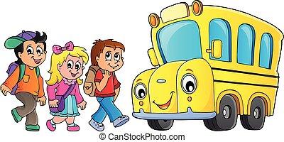 Children by school bus theme image 1