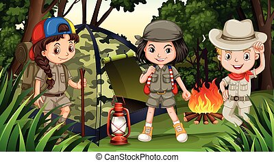 Children camping in the deep forest