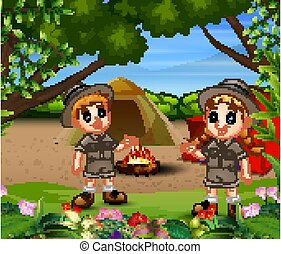 Children camping in the forest illustration