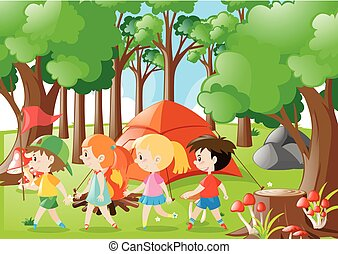 Children camping out in the woods