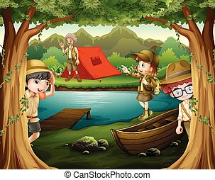Children camping out in the woods illustration