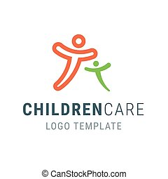 Children care logo. People logo template. Family vector symbol. Happy people hug. Logo template