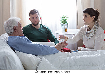 Children caring about ill father