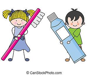 dental hygiene - Children caring for their dental hygiene
