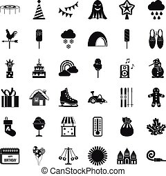 Children carousel icons set, simple style