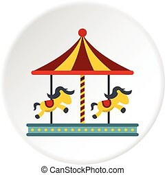 Children carousel with colorful horses icon circle