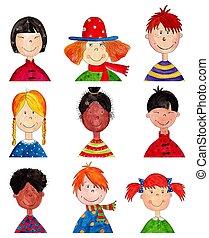 Children. Cartoon characters. - Artistic work. Watercolors...