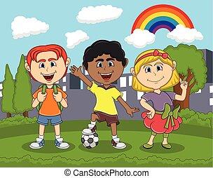 Children cartoon playing at the park cartoon