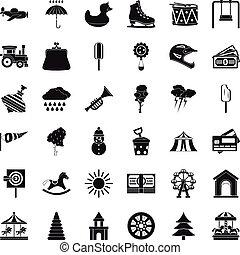 Children castle icons set, simple style