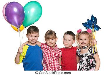 Children celebrate a birthday