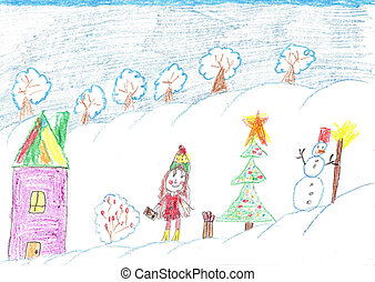 Children celebrate Christmas outdoors. Child drawing