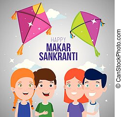 children celebrate makar sankranti with kites