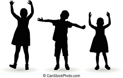 Children celebrate with open arms vector silhouette