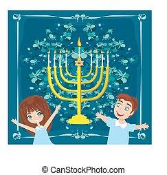 children celebrating Hanukkah, abstract card