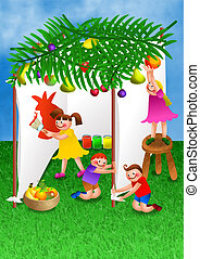 Children Celebrating Succot A Digitally Created Colourful Cartoon Illustration Of A Group Of Happy Stock Illustration Csp