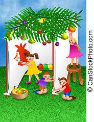 Children Celebrating Succot