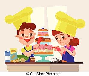 Children character bake cake. Vector flat cartoon illustration