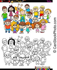 children characters group coloring book