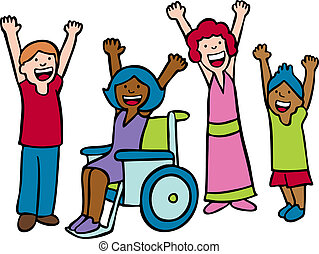 Diverse group of children waving hands and smiling.