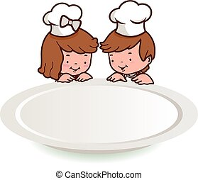 Children chefs and empty plate. Vector illustration