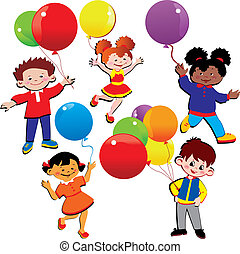 Children with balloons. Happy childhood. Vector art-illustration.