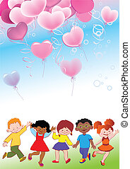 Children. - Children with balloons in the form of heart....