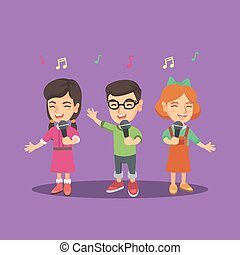 Children choir singing a song with microphones. - Group of...
