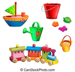 Children christmas gifts. Toys. Toy boat, watering can, sand...