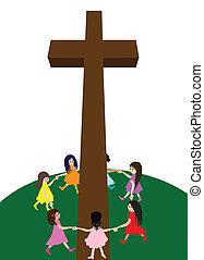 Children circle around a cross - A group of children circle...