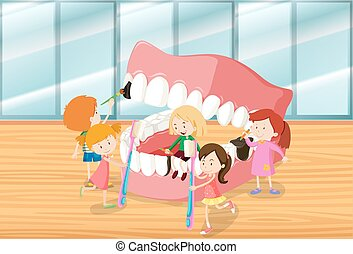 Children cleaning teeth together