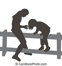 Children climbing a wooden fence