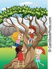 Children climbing tree in the park