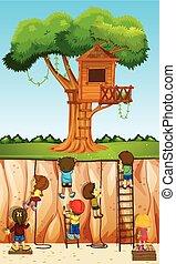 Children climbing up the cliff