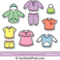 children clothes - set of children clothes, vector design...
