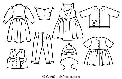 Children clothes - Silhouette of children clothes