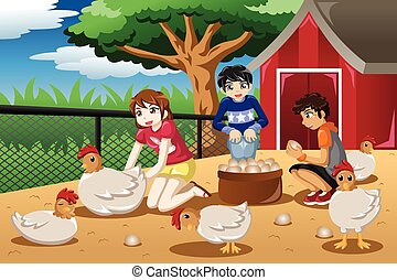Children collecting eggs from the farm