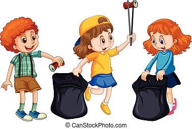 Children Collecting Rubbish on White Background